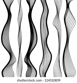 Abstract vector seamless black and white pattern with waves, urban theme design element.