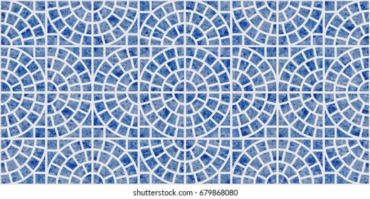Abstract vector seamless geometrical pattern with blue watercolor texture on a light grey background. Floor tile, wallpaper, wrapping paper, page fill in Mediterranean ceramic style