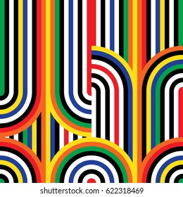Abstract vector seamless op art pattern. Colorful disco ornament.