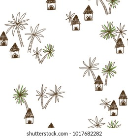 Abstract vector seamless pattern with African tribe houses and palm trees. Can be printed and used as wrapping paper, wallpaper, textile, background, etc.