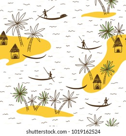 Abstract vector seamless pattern with African tribe houses on white background. Can be printed and used as wrapping paper, wallpaper, textile, background, etc.