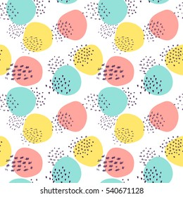 Abstract vector seamless pattern - childish style minimalistic design with geometric shapes, sketched lines. Hand drawn cute illustration