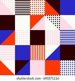 Abstract vector seamless pattern with different squares and shapes. Modern mosaic texture in flat style. Multicolored stylized background with circles, squares and triangles.