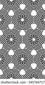 Abstract Vector seamless pattern with abstract floral and leave style. Repeating sample figure and line. black and white