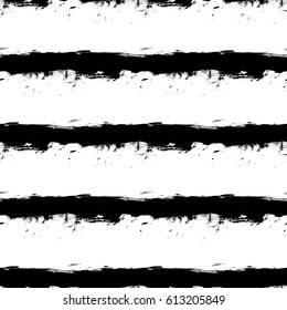 Abstract vector seamless pattern of grunge black ink horizontal stripes on white background. Can be used for pattern fill, packaging, clothing, printing on surfaces.