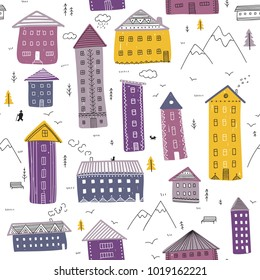 Abstract vector seamless pattern with houses on white background. Can be printed and used as wrapping paper, wallpaper, textile, background, etc.