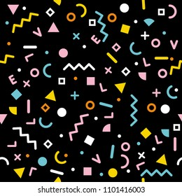 Abstract Vector Seamless Pattern. Jumble Elements. Black background. Colorful Design. Retro Memphis Style. Love letters.