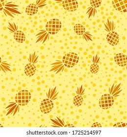 Abstract vector seamless pattern with pineapples. Modern fruit background with colorful pineapple or ananas. Tropical backdrop. Vector tropical nature ananas seamless pattern. Sweet fruit print