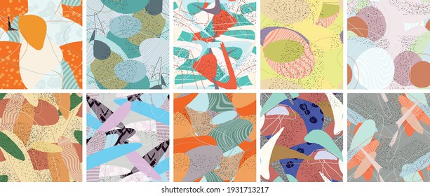 Abstract vector seamless pattern set. Organic grunge textured overlapping wavy shapes and lines. Scribbled hand drawn pastel colored background. Striped dotted leaf forms. Flat textile swatch.