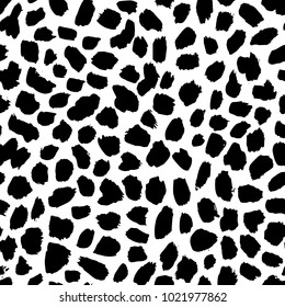 Abstract vector  seamless pattern with spots  in memphis style.  Creative background for print, textile, wear, magazines, template, card, poster, flyer design, brochure. Black and white colors.