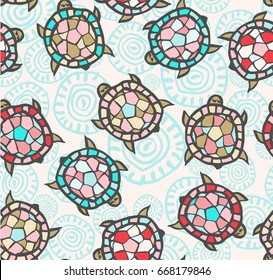 Abstract vector seamless pattern with turtles painted by brush. Doodle illustration. Blue hand  drawn  background