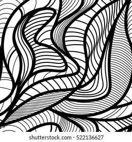 Abstract vector seamless pattern with waving curling lines. Abstract graphic black and white ornament. Leaves repeating texture.