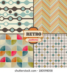 Abstract vector seamless patterns. Retro.