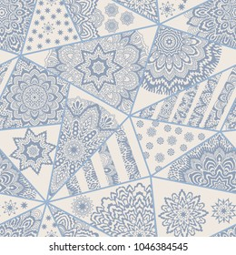 Abstract vector seamless triangular patchwork pattern from grey blue and beige geometric Art deco ornaments, stylized stars and oriental radial rosette. Carpet, textile print, wallpaper, wrapping