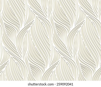 Abstract vector seamless wave background of plants drawn lines