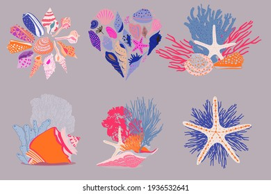 abstract vector seashell illustration composition and elements in bright and playful colors for art prints, cards, stationery, prints, and much more.