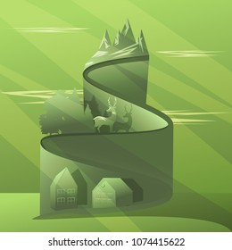Abstract vector serbentine road in the mountains. The landscape scene includes serbentines, mountains, deer, wood and farm house.
