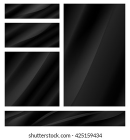 abstract vector set of blank glossy black banners of different sizes
