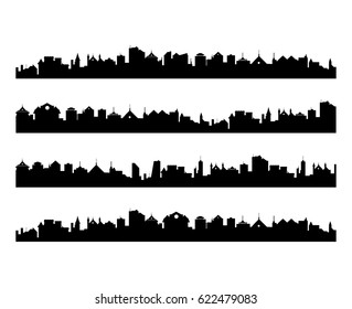 Abstract vector set of city silhouettes, cityscape illustration