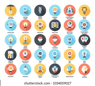 Abstract vector set of colorful flat light bulbs icons with long shadow. Concepts and design elements for mobile and web applications.