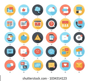 Abstract vector set of colorful flat message bubbles icons with long shadow. Concepts and design elements for mobile and web applications.
