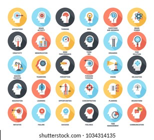 Abstract vector set of colorful flat thinking and brain process icons with long shadow. Concepts and design elements for mobile and web applications.