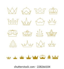 abstract vector set of crowns creative ideas and objects for design