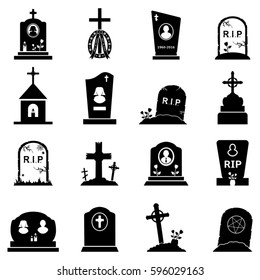 Abstract vector set of gravestones and tombstones icons on a white background