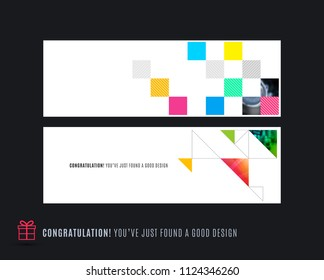 Abstract vector set of horizontal website banners with colourful flowers abstract shapes for web design.