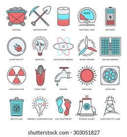 Abstract vector set of line color icons for energy and fuels.