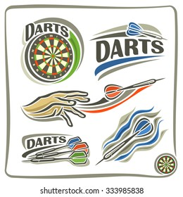 Abstract vector set logo labels for Darts club, isolated illustrations: bullseye dartboards, dart flying on trajectory in goal, hand throwing dart in darts board,  inscription closeup on white