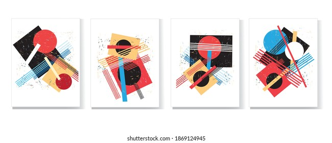 Abstract vector set of modern geometric shapes and patterns. Examples of website design and advertising.