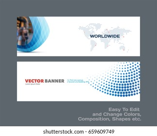 Abstract vector set of modern horizontal website banners with blue rounds, circles, dots for construction, teamwork, tech, communication. Clean web headers design with overlay effect.