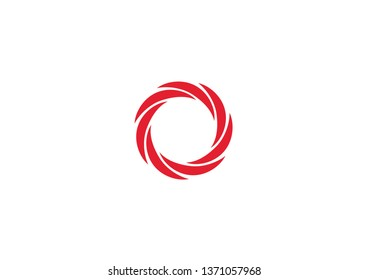 Abstract vector shape of a circular object with seven blades that represents rotation, movement, fan or a camera shutter