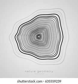 Abstract Vector Shape. Nature Geometry Poster - Tree Rings or Ink In Water