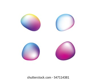 Abstract vector shapes in a set of 4. Colorful and glossy on the white panel. Vector illustration.
