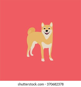 Abstract vector shiba inu puppy on a pink background