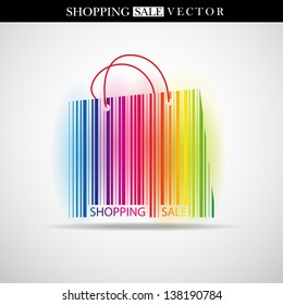 Abstract vector shopping bag made from bar-code - Sale theme