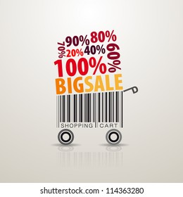 Abstract vector shopping cart. SALE theme. Made from bar-code