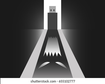 Abstract vector show the scary usb and its ghost shadow refer to internet, computer security. USB or portable storage drive open the door with light in the back and the shadow is scary ghost.
