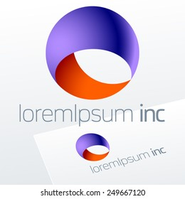 Abstract vector sign in sphere shape. Logo for Business, Technology, Corporation