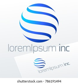 Abstract vector sign in sphere shape. Logo for Business, Technology, Corporation.