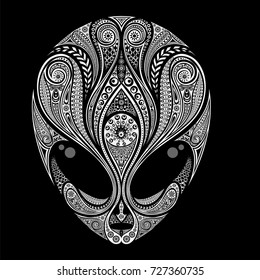 Abstract vector silhouette of an alien from patterns on a black background