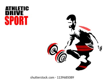 Abstract vector silhouette of an athlete. Emblem for firms for the sale of promotional products. Sticker, poster, leaflet for advertising sports stores.