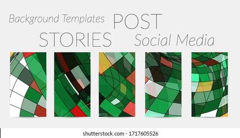 Abstract vector social media backdrop border with multicolored wire frame geometric shapes. Futuristic stories template. 3D science model digital technology concept. Retro colored art.