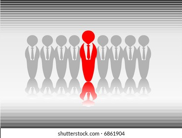 Abstract vector of someone standing out from the crowd
