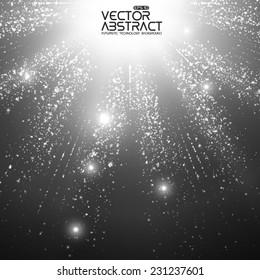 Abstract vector space background. Explosion of glowing particles and light rays. Futuristic technology style. Elegant background for business presentations or gift cards.EPS10