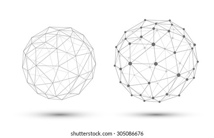 Abstract vector sphere. Connection Structure. Geometric Modern Technology Concept.