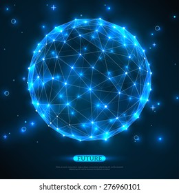 Abstract vector sphere. Futuristic technology wireframe mesh polygonal element. Connection Structure. Digital Data Visualization. Social Network Graphic Concept
