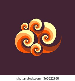 Abstract vector spiral logo. Caramel candy icon. Creamy dessert image. Seashell sign. Fire symbol. Wavy element. Tendril texture. Smoke illustration. Hurricane sign. Tornado image. Natural disaster.